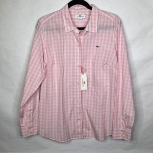 Vineyard Vines pink/white gingham check shirt